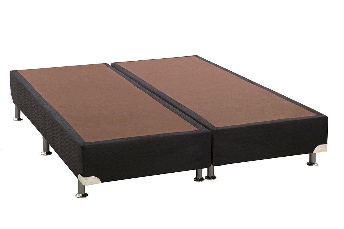 Cama Ortobom Box Base Americana Nobuck Nero Black 23Cama Box King Size - 1,86x1,98x0,23 - Sem Colchão