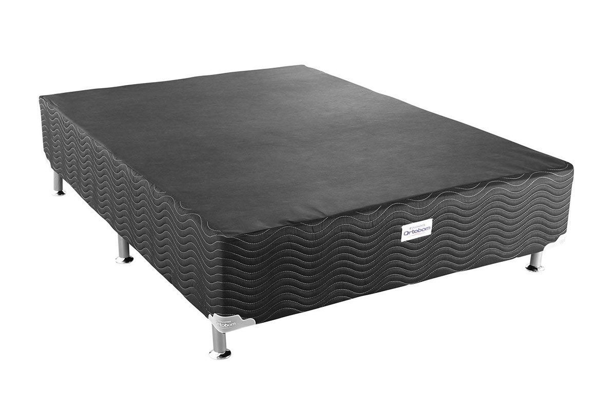 Cama Ortobom Box Base Ortobom Physical Black 20Cama Box Casal - 1,38x1,88x0,20 - Sem Colchão