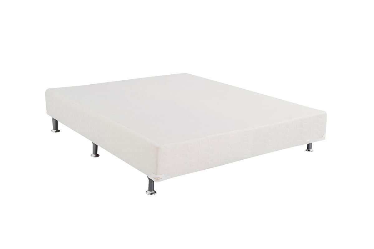 Cama Ortobom Box Base Light Tecido Branco 24Cama Box King Size - 1,86x1,98x0,24 - Sem Colchão