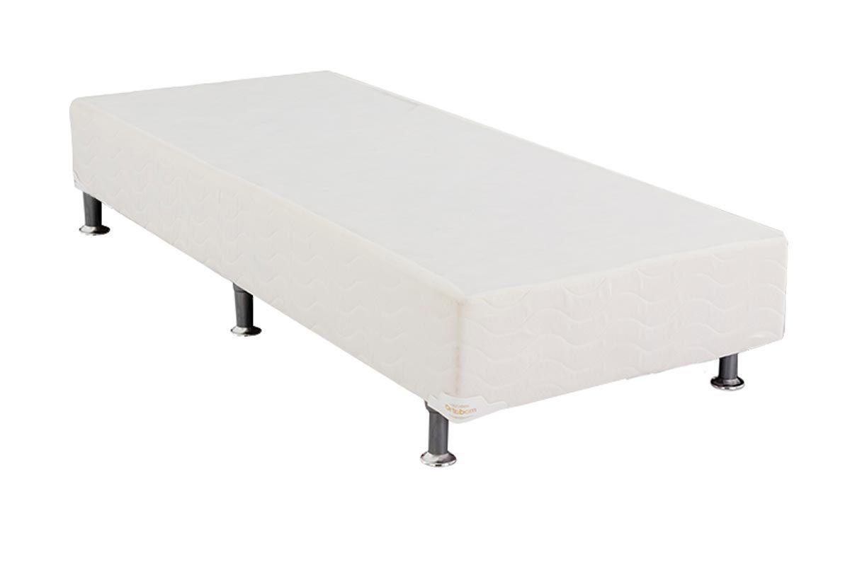 Cama Ortobom Box Base Light Tecido Branco 24Cama Box Solteiro - 0,88x1,88x0,24 - Sem Colchão