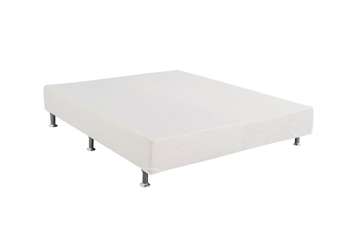 Cama Ortobom Box Base Light Tecido Branco 24Cama Box Queen Size - 1,58x1,98x0,24 - Sem Colchão