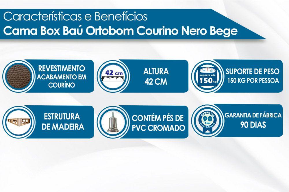 Cama Ortobom  Box Base Courino Bege 30