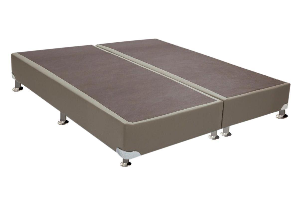 Cama Ortobom  Box Base Courino Bege 30Cama Box Queen Size - 1,58x1,98x0,30 - Sem Colchão