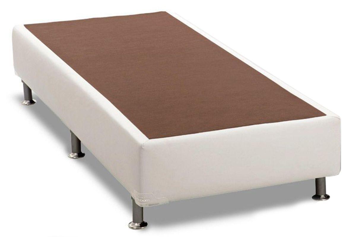 Cama Ortobom Box Base Courino Branco 30Cama Box Solteiro - 0,88x1,88x0,30 - Sem Colchão
