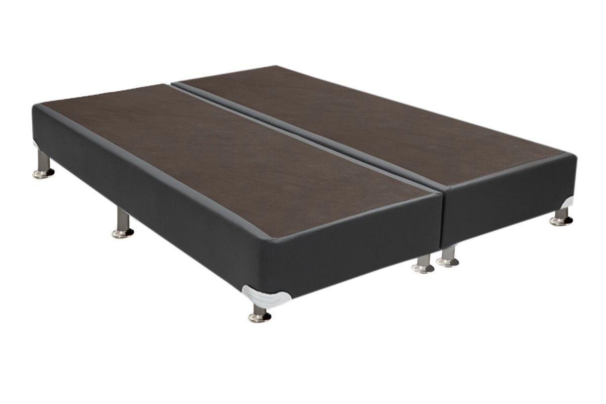 Cama Ortobom Box Base Courino Cinza 30Cama Box Queen Size - 1,58x1,98x0,30 - Sem Colchão