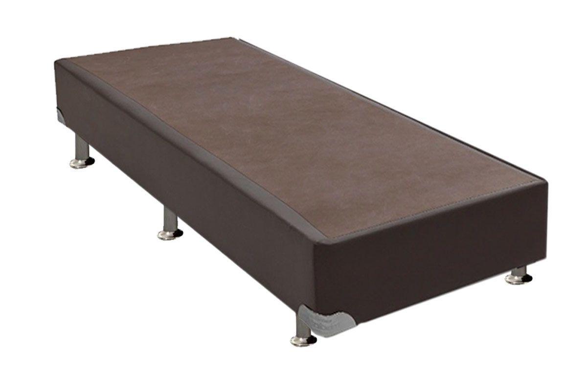 Cama Ortobom  Box Base Courino Marrom 30cmCama Box Solteiro - 0,88x1,88x0,30 - Sem Colchão