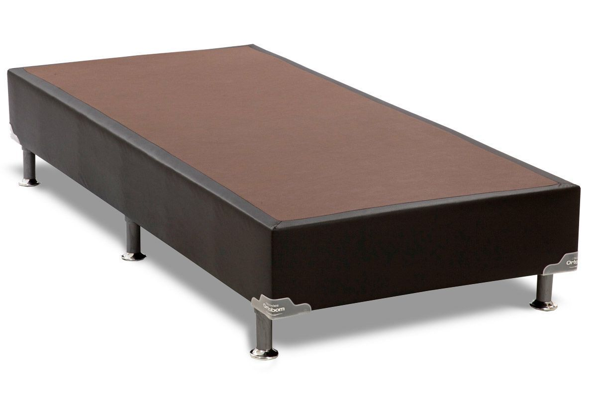 Cama Ortobom Box Base Courino Preto 30Cama Box Solteiro - 0,88x1,88x0,30 - Sem Colchão