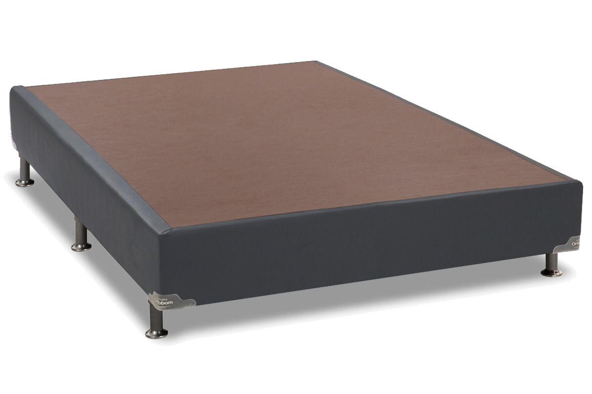 Cama Ortobom Box Base Universal Couríno Cinza 20Cama Box Casal Inteiriço - 1,28x1,88x0,20 - Sem Colchão