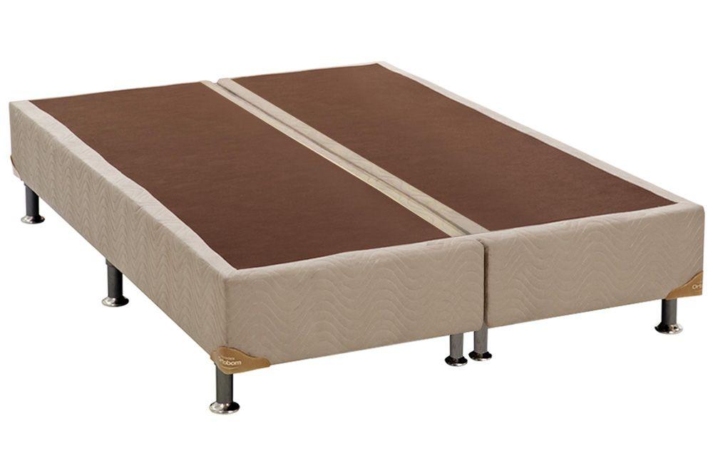 Cama Ortobom Box Base Camurça Bege 30Cama Box King Size - 1,93x2,03x0,30 - Sem Colchão
