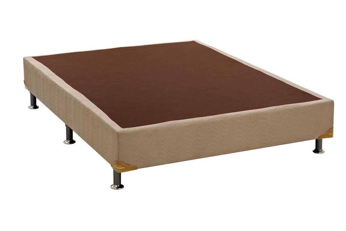 Cama Ortobom Box Base Camurça Bege 30Cama Box Casal - 1,28x1,88x0,30 - Sem Colchão