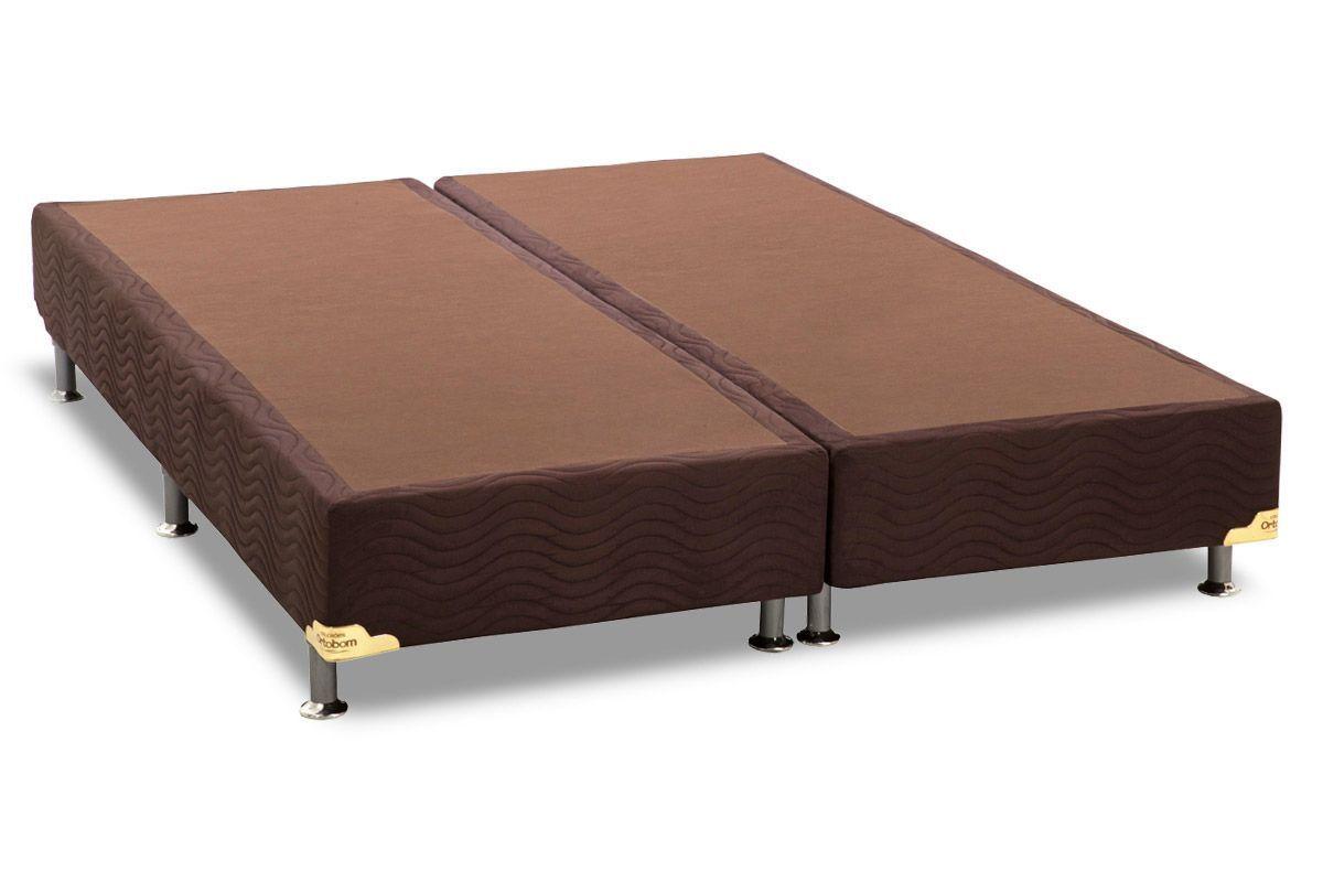 Cama Ortobom Box Base Nobuck Marrom 30Cama Box King Size - 1,86x1,98x0,30 - Sem Colchão