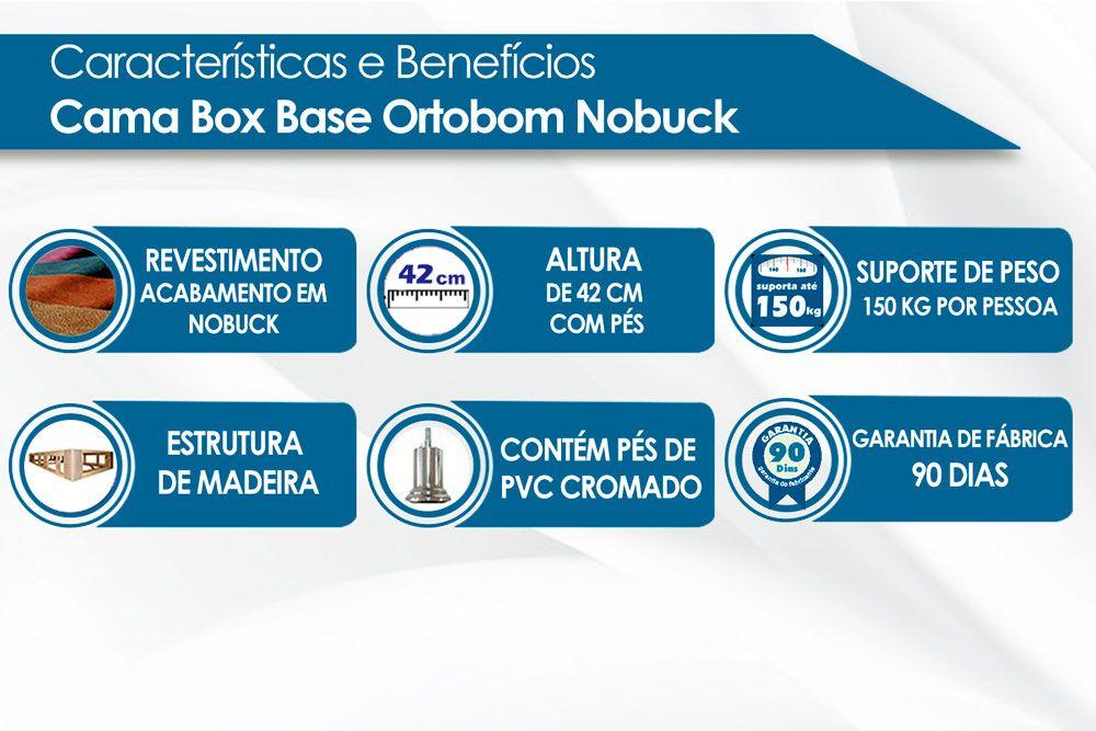Cama Ortobom Box Base Nobuck Preto 30
