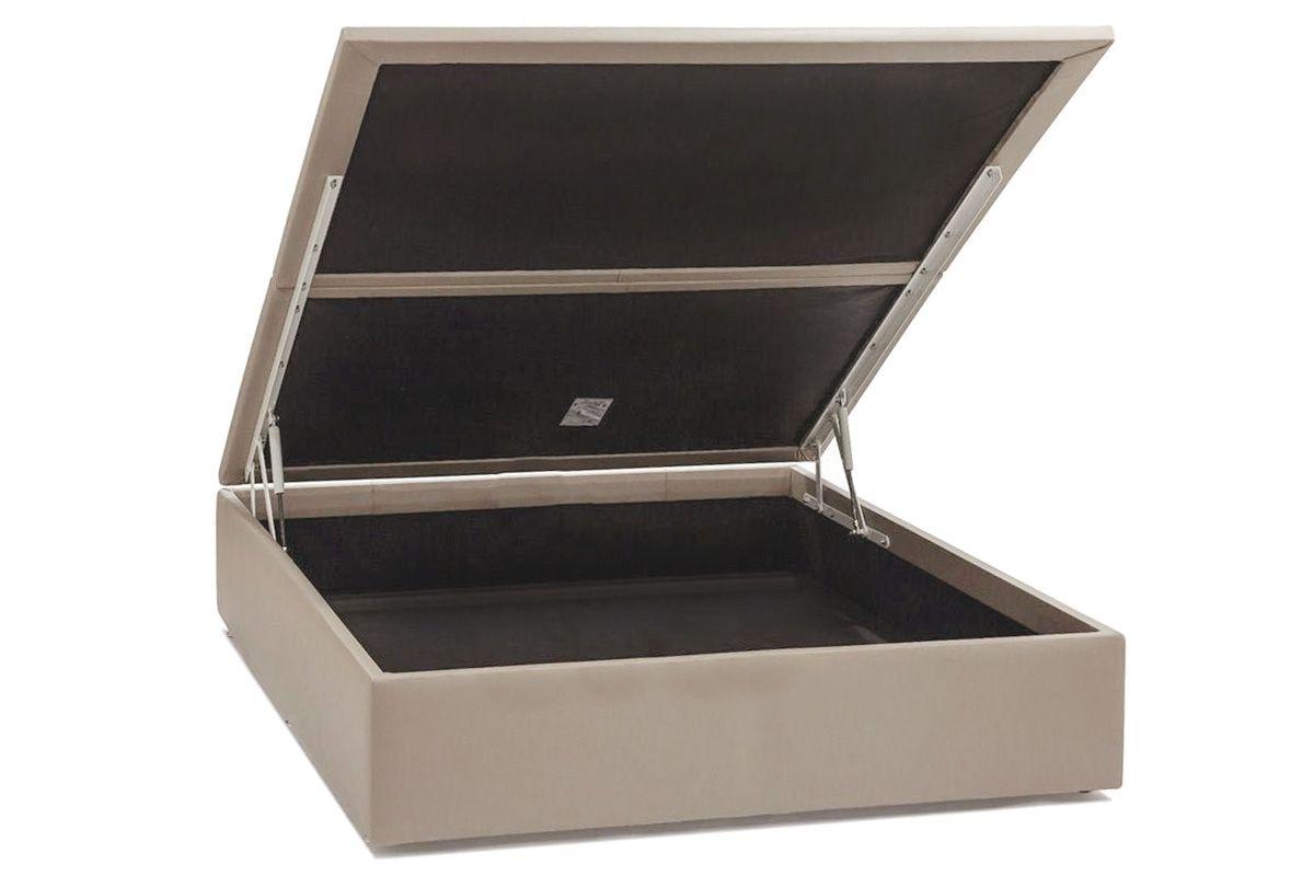 Cama Ortobom Box Baú Courino Bege Crema-  Box Baú Casal - 1,38x1,88x0,35 -Inteiriça