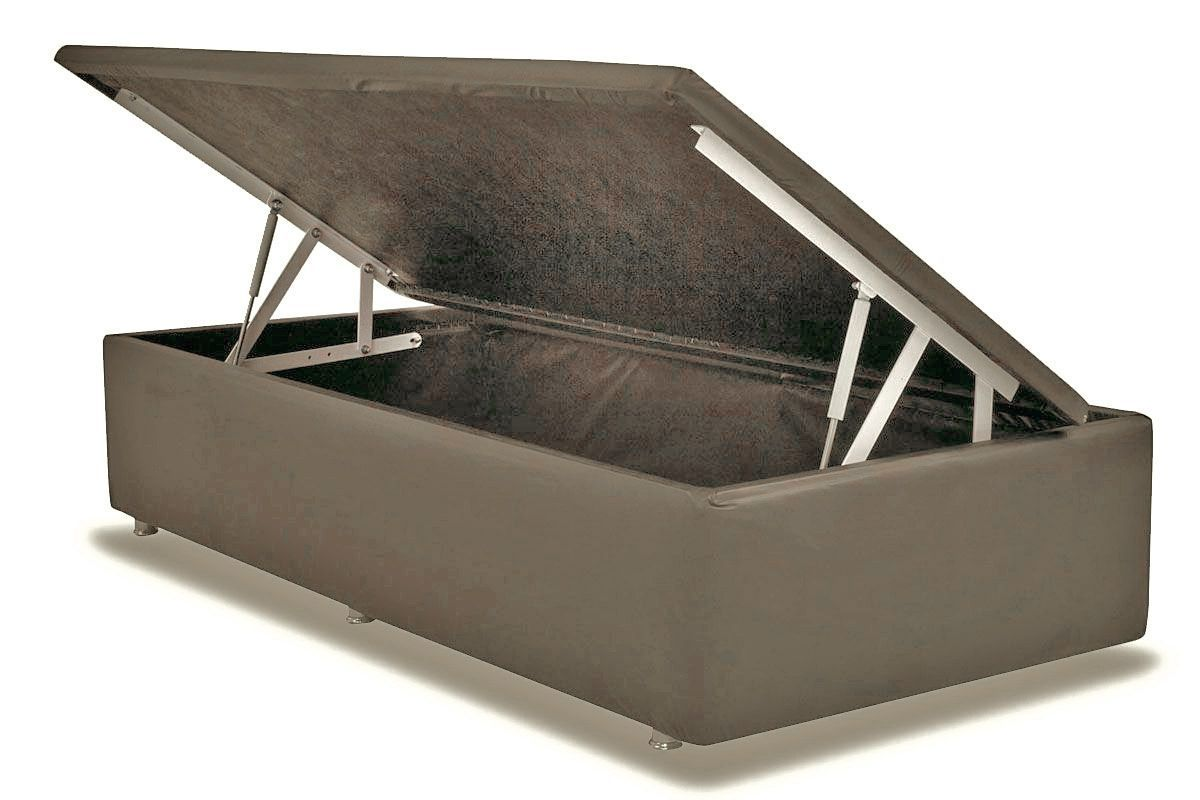 Cama Ortobom Box Baú Courino Bege Crema- Box Baú Physical Solteiro - 0,88x1,88 - Inteiriça