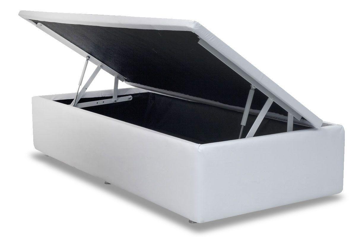 Cama Ortobom Box Baú Couríno Bianco- Box Baú Physical Solteiro - 0,88x1,88 - Inteiriça