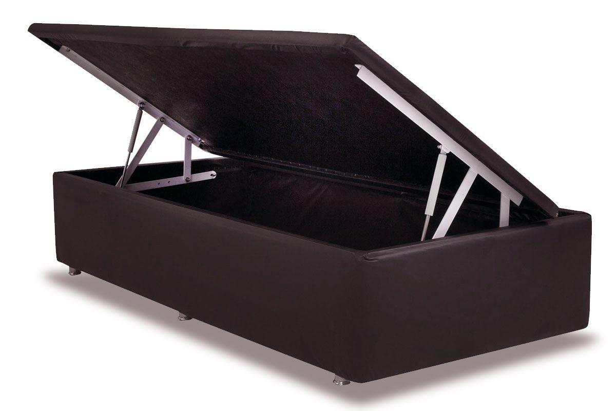 Cama Ortobom  Box Baú Courino Marrom Rosolare- Box Baú Physical Solteiro - 0,88x1,88 - Inteiriça