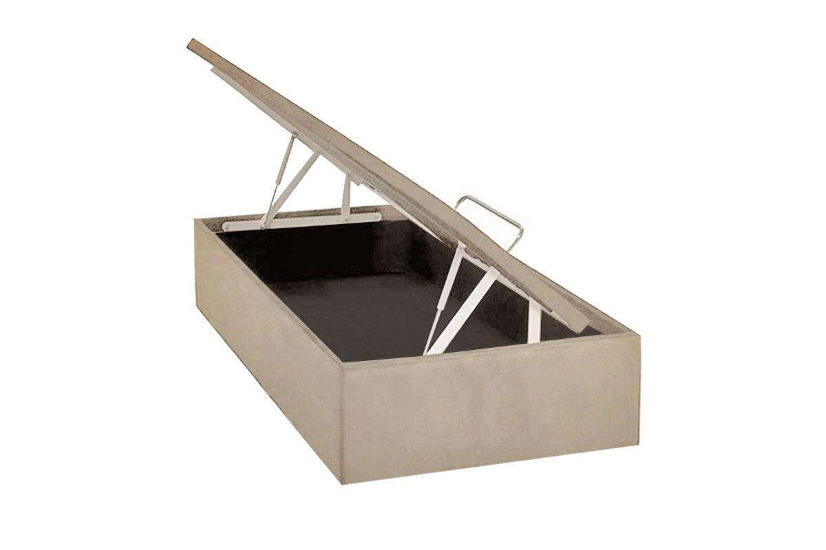 Cama Ortobom Box Baú Camurça Bege Crema- Box Baú Physical Solteiro - 0,88x1,88 - Inteiriça
