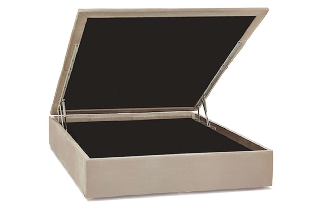 Cama Ortobom Box Baú Camurça Bege Crema-  Box Baú Casal - 1,38x1,88x0,35 - Inteiriça