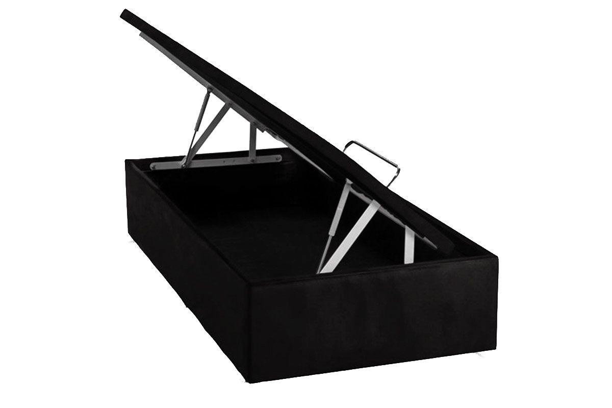 Cama Ortobom Box Baú Camurça Nero- Box Baú Physical Solteiro - 0,88x1,88 - Inteiriça