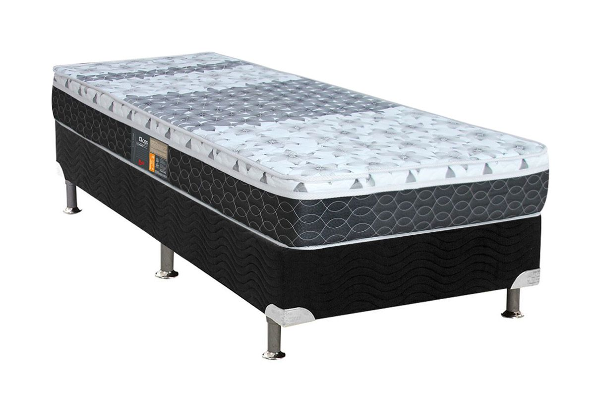 Colchão Castor de Molas Bonnel Class Slim Double Face + Cama Box Universal Nobuck Black