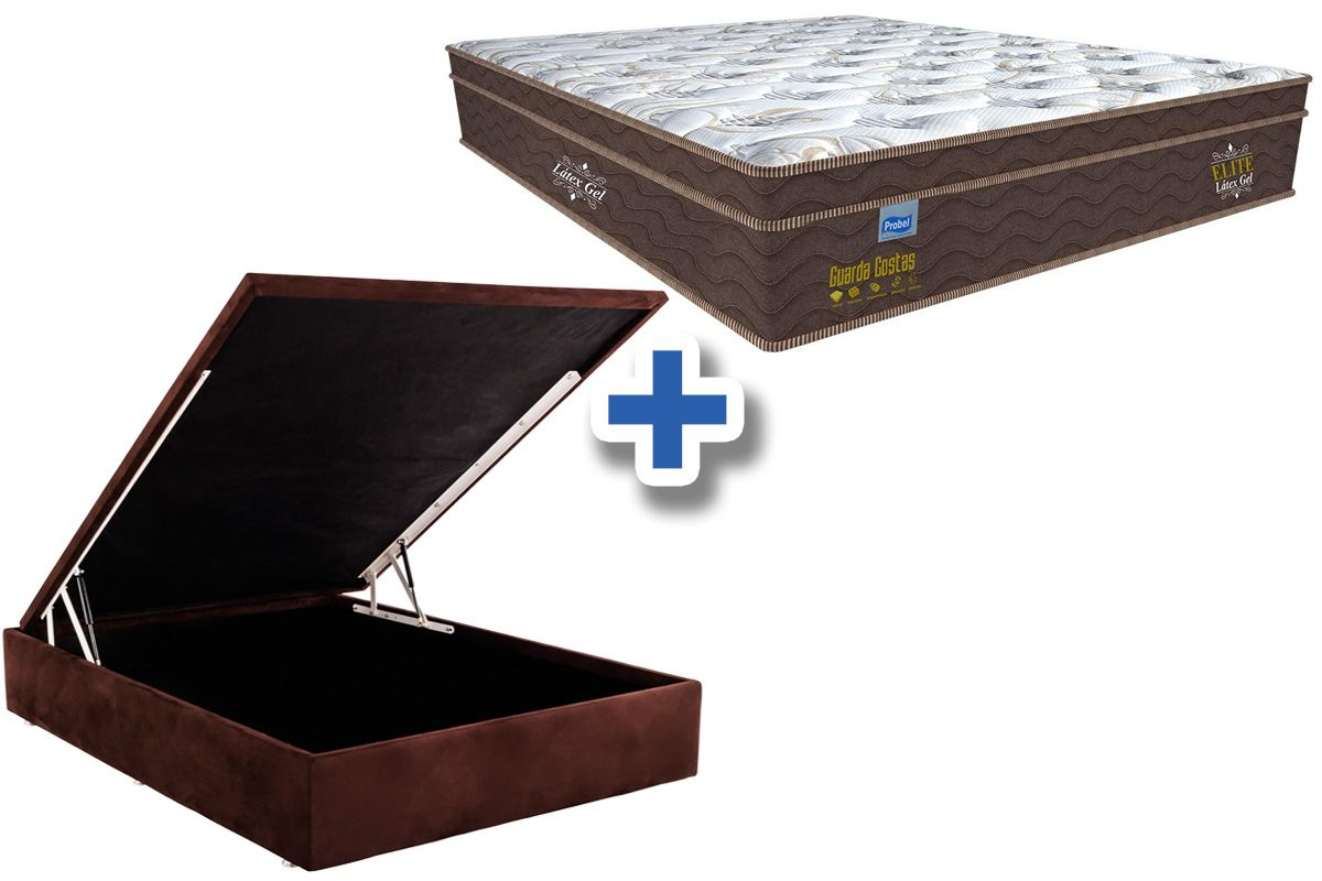 Conjunto Cama Box Baú - Colchão Probel de Mola Pocket Guarda Costa Elite Látex Gel Pillow Euro + Cama Box Baú Nobuck Rosolare Café