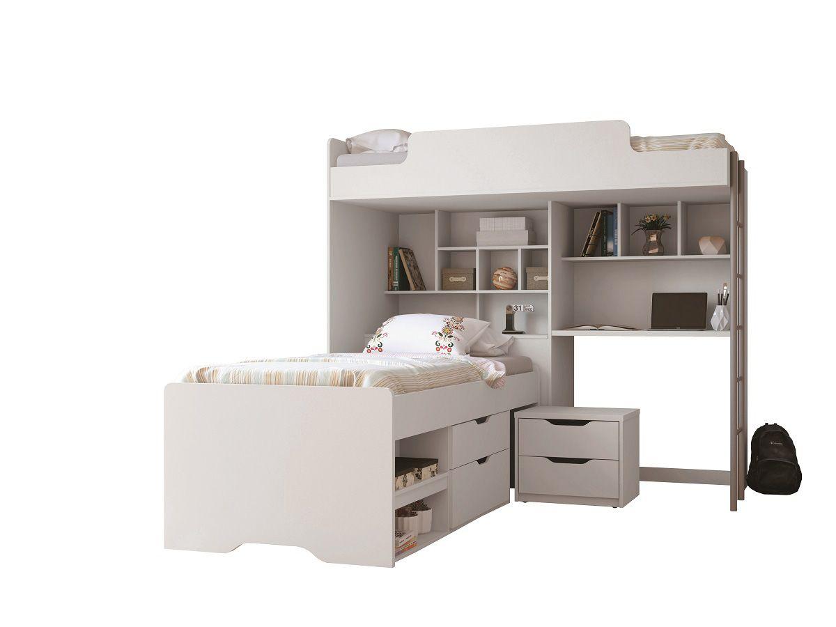 Beliche Com Escrivaninha e Baú Santos Andirá Office New + Cama Auxiliar c/ 2 Gavetas e Criado MudoCor Branco/Branco