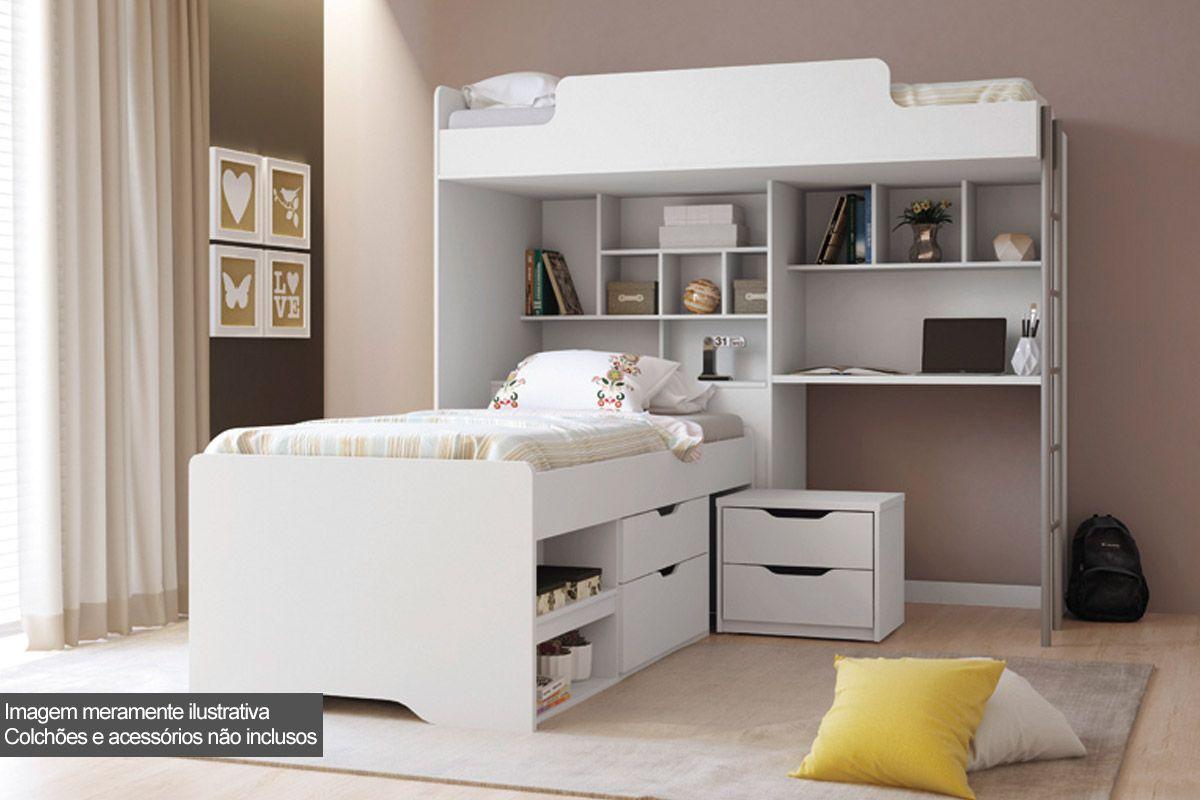 Beliche Com Escrivaninha e Baú Santos Andirá Office New + Cama Auxiliar c/ 2 Gavetas e Criado Mudo