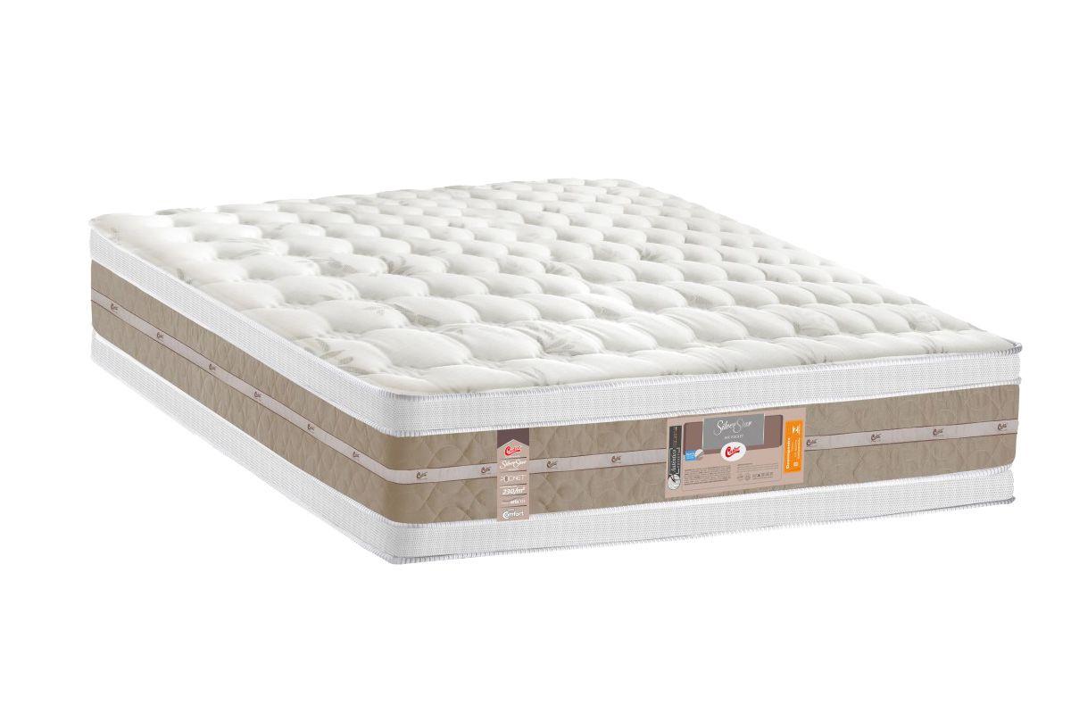 Colchão Castor de Molas Pocket Silver Star Air Double Face Euro PillowColchão King Size - 1,93x2,03x0,34 - Sem Cama Box