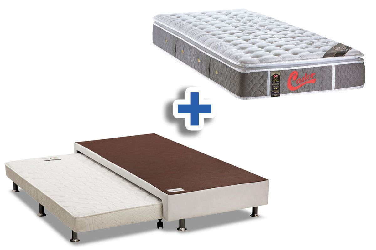 Conjunto 3 em 1 (Cama Box + Cama Auxiliar Courino Bianco Ortobom) + (Colchão Castor Pocket Gold Star Light Stress)