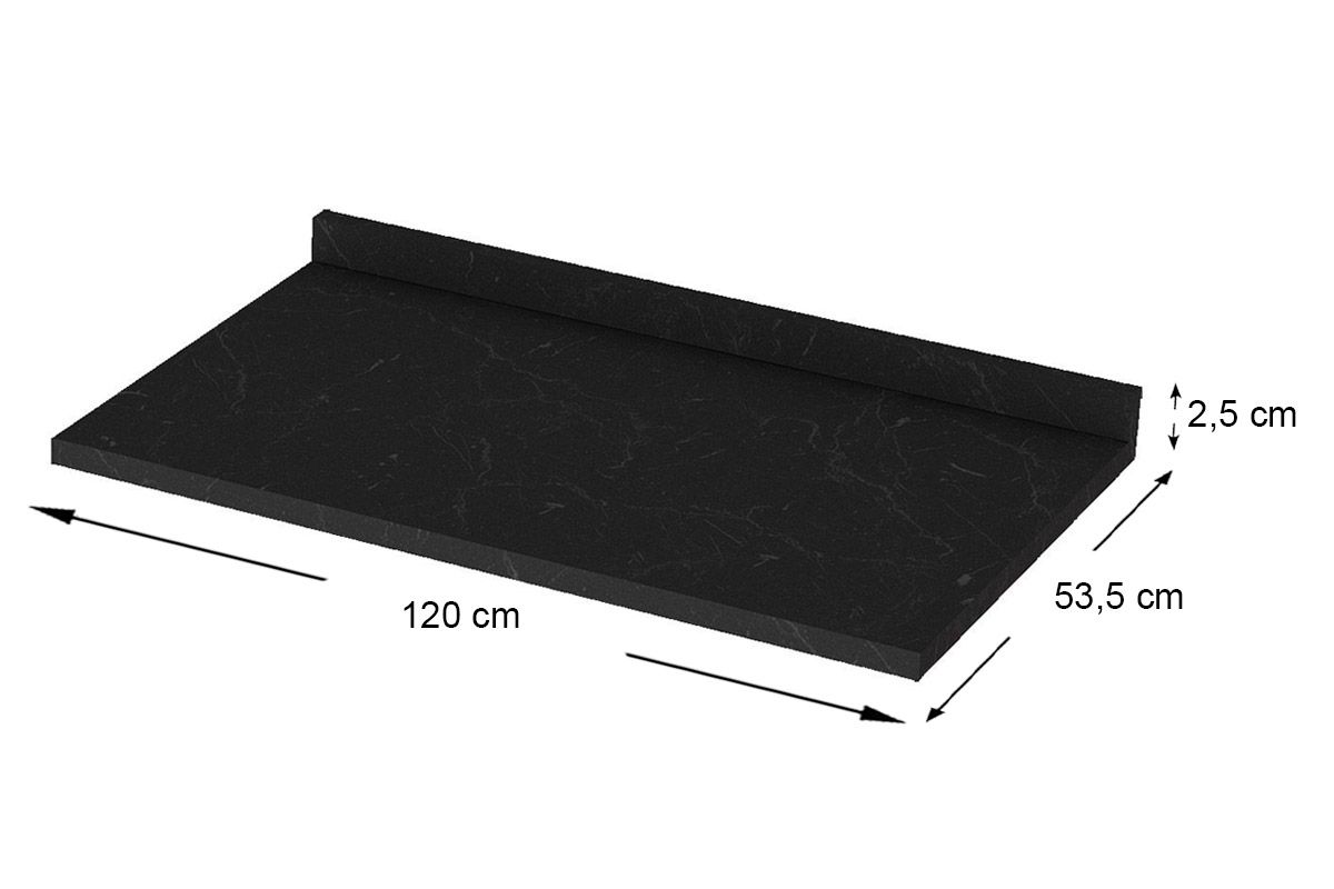 Tampo de Balcão Henn Integra 120cm (p/ Gabinete de 120cm)Cor Nero