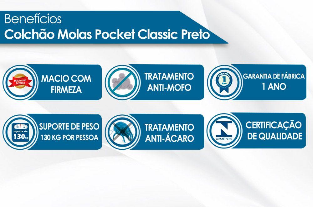 Colchão Anjos de Molas Pocket Classic Preto