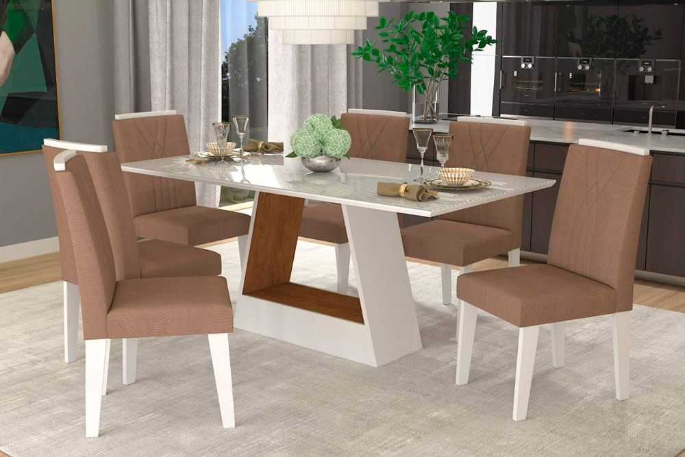 Sala de Jantar Cimol Mesa Alana 180x90 Com 6 Cadeiras NicoleCor Branco/Savana - Assento/Encosto Pluma