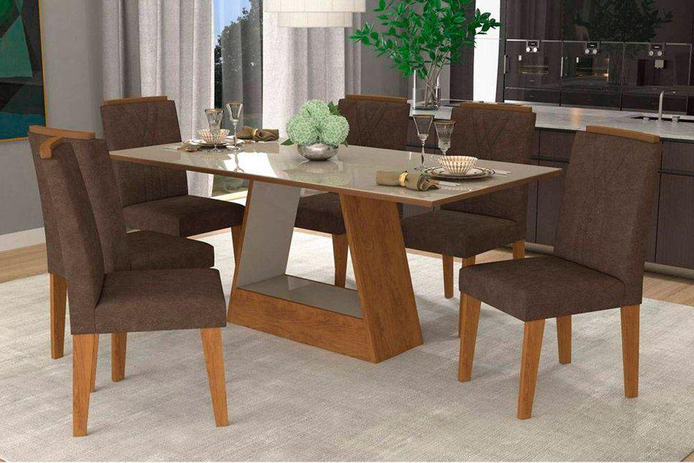 Sala de Jantar Cimol Mesa Alana 180x90 Com 6 Cadeiras NicoleCor Savana/Off White - Assento/Encosto Cacau