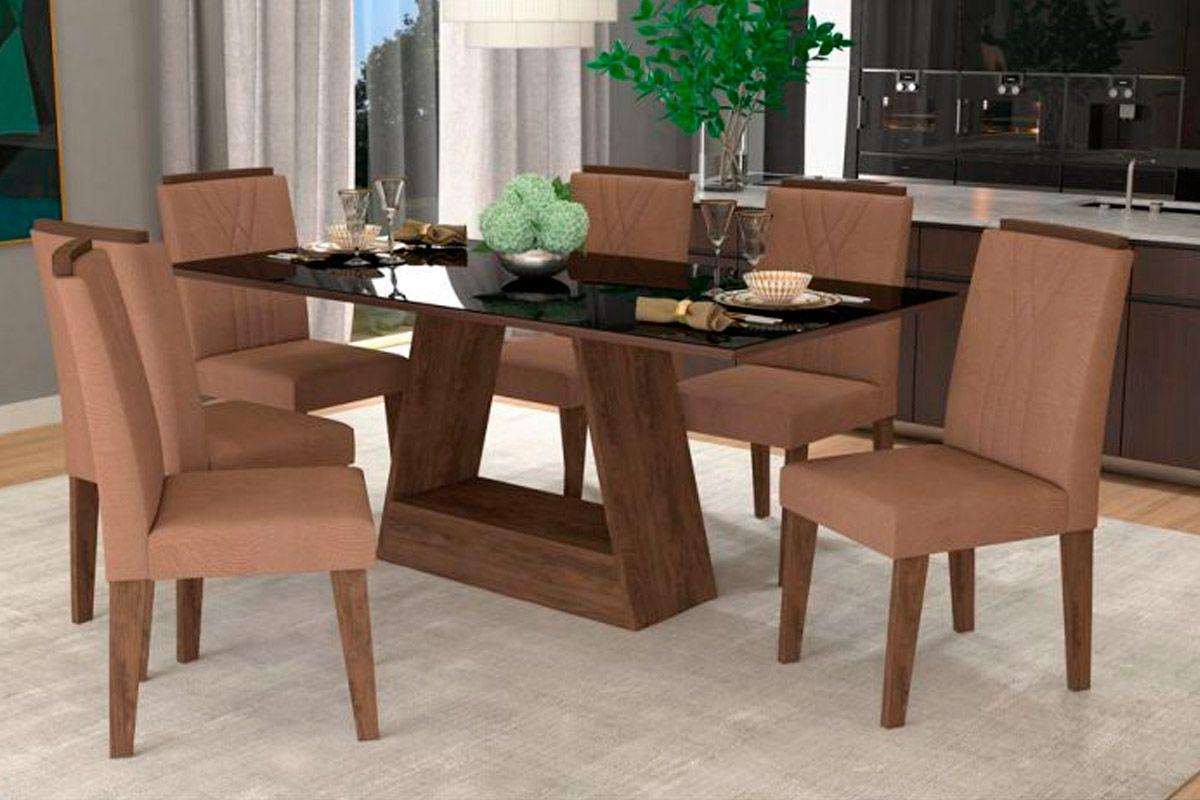 Sala de Jantar Cimol Mesa Alana 180x90 Com 6 Cadeiras Nicole-Cor Branco/Savana - Assento/Encosto PlumaCor Marrocos/Preto - Assento/Encosto Pluma