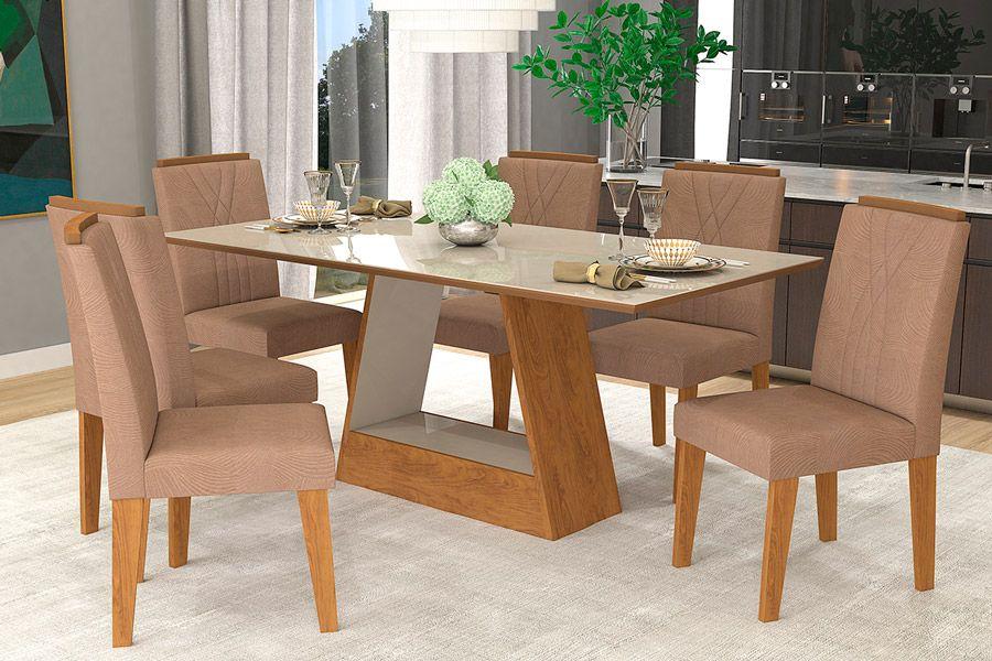 Sala de Jantar Cimol Mesa Alana 180x90 Com 6 Cadeiras Nicole-Cor Branco/Savana - Assento/Encosto PlumaCor Savana/Off White - Assento/Encosto Pluma