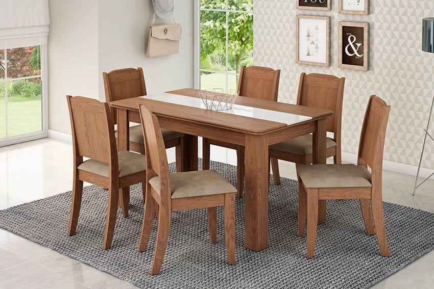 Sala de Jantar cimol Mesa Bárbara 136x80cm com 6 Cadeiras BárbaraCor Savana - Assento Sued Marfin