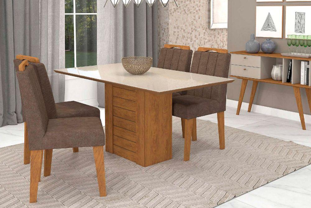 Sala de Jantar Rafaela 130x80 c/ 4 Cadeiras ElisaCor Savana/Off White - Assento/Encosto Cacau