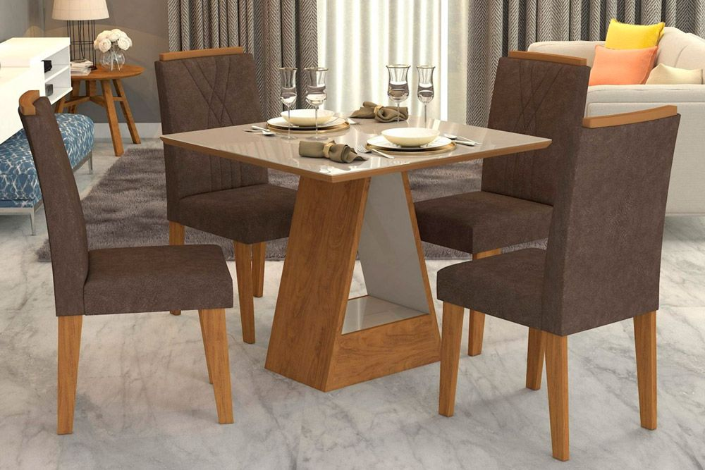 Sala de Jantar Alana 95x95 c/ 4 Cadeiras NicoleCor Savana/Off White - Assento/Encosto Cacau