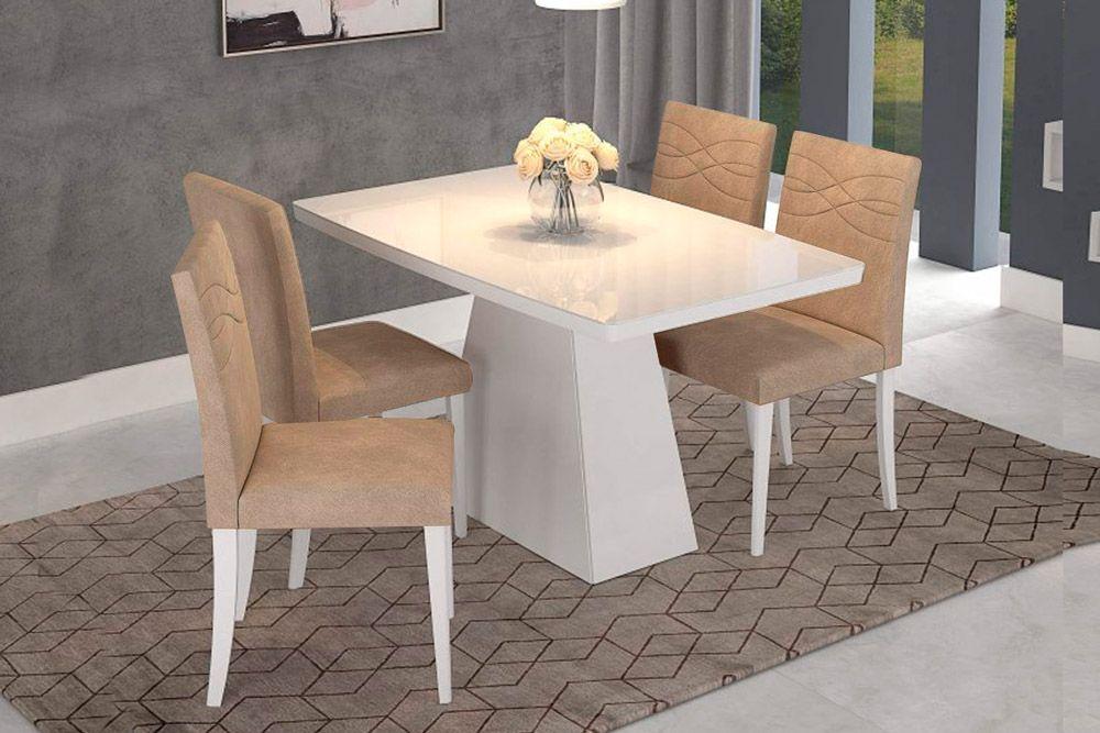 Sala de Jantar Helen 130x80  c/ 4 Cadeiras MarinaCor Branco/Branco - Assento/Encosto Caramelo