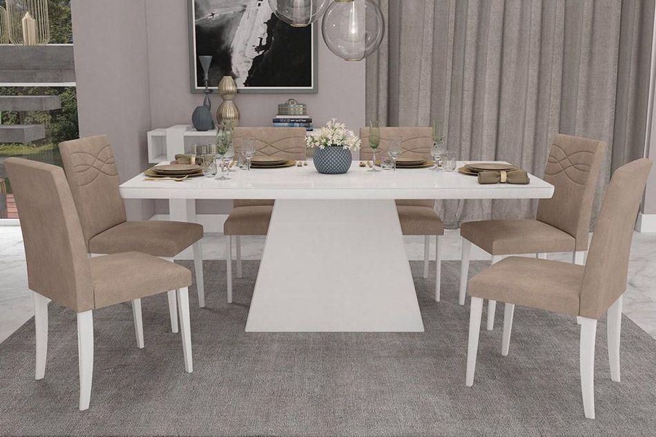 Sala de Jantar Helen 180x90 c/ 6 Cadeiras MarinaCor Branco  -  Assento/Encosto Caramelo