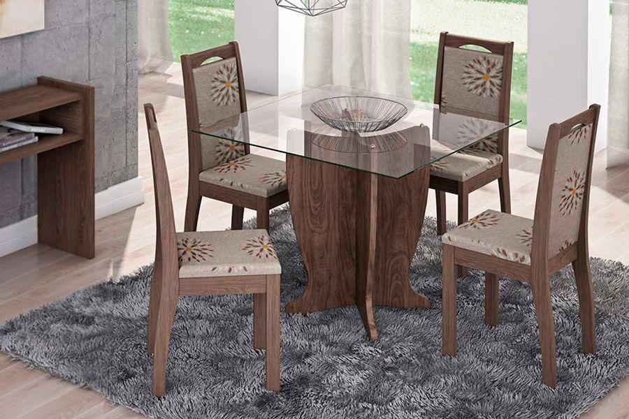 Sala de Jantar Luana 100x100 c/ 4 Cadeiras Lívia-Cor Marrocos - Assento/Encosto Floral BordôCor Marrocos  -  Assento/Encosto Café