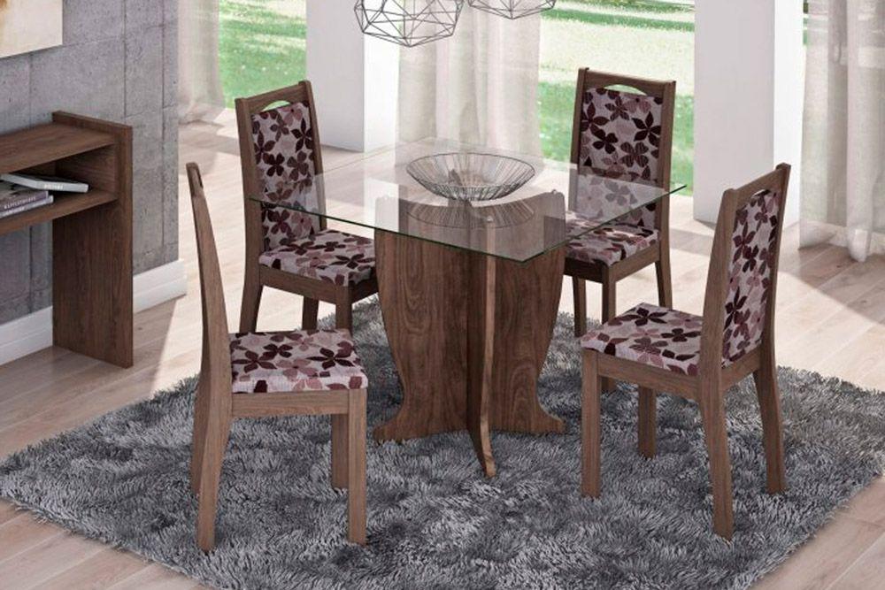 Sala de Jantar Luana 100x100 c/ 4 Cadeiras Lívia-Cor Marrocos - Assento/Encosto Floral BordôCor Marrocos  -  Assento/Encosto Floral Bordô
