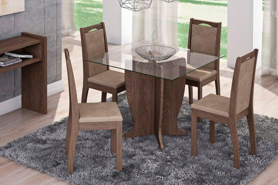 Sala de Jantar Luana 100x100 c/ 4 Cadeiras Lívia-Cor Marrocos - Assento/Encosto Floral BordôCor Marrocos- Assento/Encosto Sued Marfin
