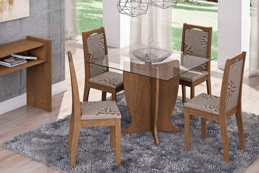 Sala de Jantar Luana 100x100 c/ 4 Cadeiras Lívia-Cor Marrocos - Assento/Encosto Floral BordôCor Savana  -  Assento/Encosto Café