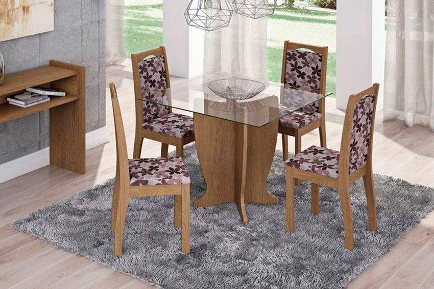 Sala de Jantar Luana 100x100 c/ 4 Cadeiras Lívia-Cor Marrocos - Assento/Encosto Floral BordôCor Savana  -  Assento/Encosto Floral Bordô