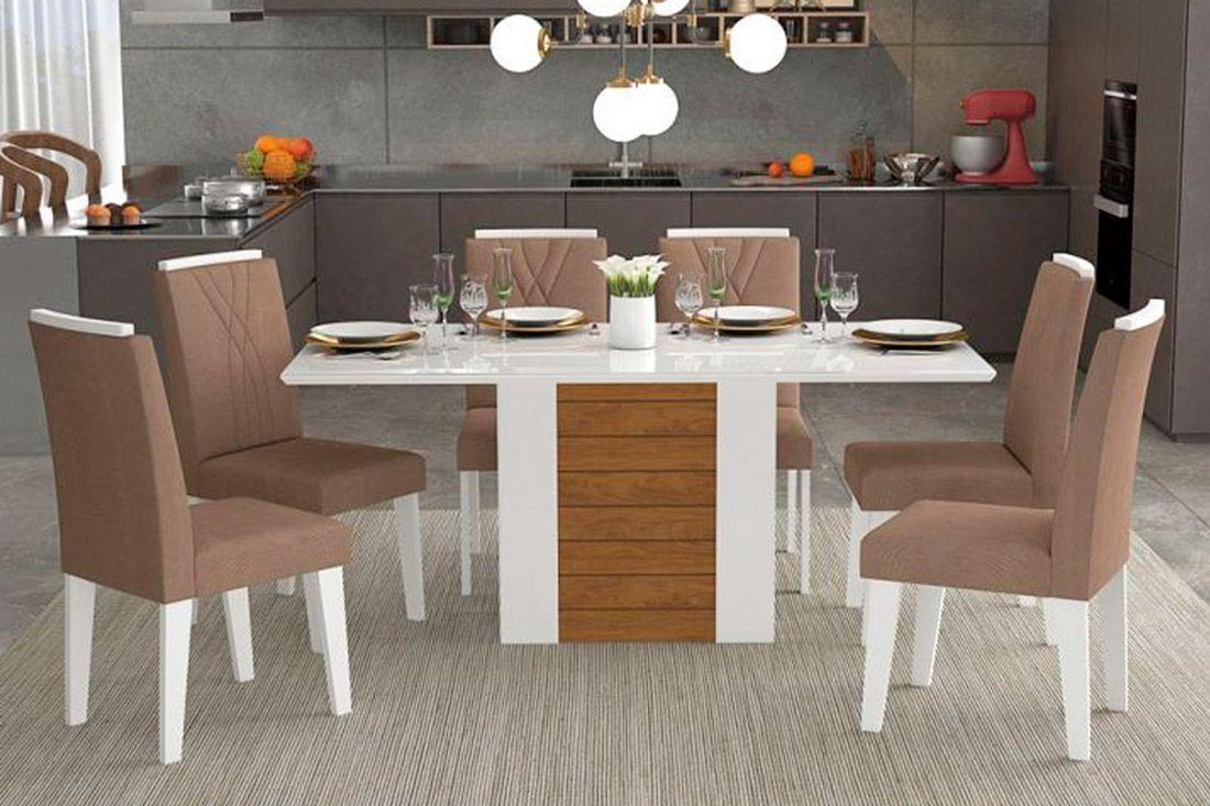 Sala de Jantar Rafaela 180x90 c/ 6 Cadeiras NicoleCor Branco/Savana - Assento/Encosto Pluma