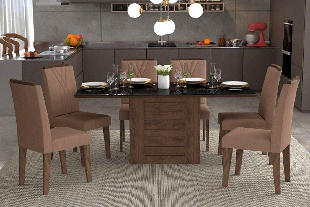 Sala de Jantar Rafaela 180x90 c/ 6 Cadeiras NicoleCor Marrocos/Preto - Assento/Encosto Pluma