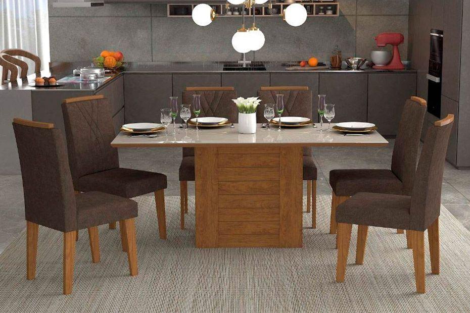 Sala de Jantar Rafaela 180x90 c/ 6 Cadeiras NicoleCor Savana/Off White - Assento/Encosto Cacau