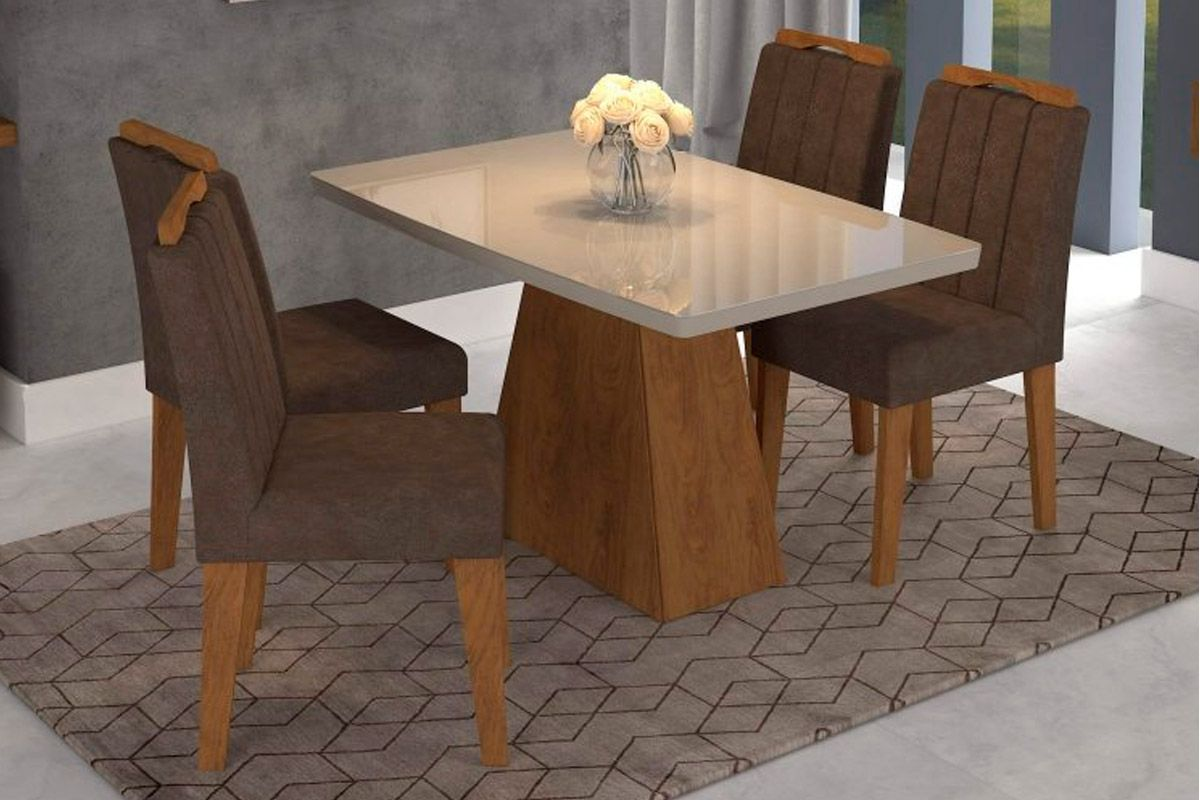 Sala de Jantar Helen 130x80 c/ 4 Cadeiras Elisa-Cor Branco/Branco - Assento/Encosto PlumaCor Savana/Off White - Assento/Encosto Cacau