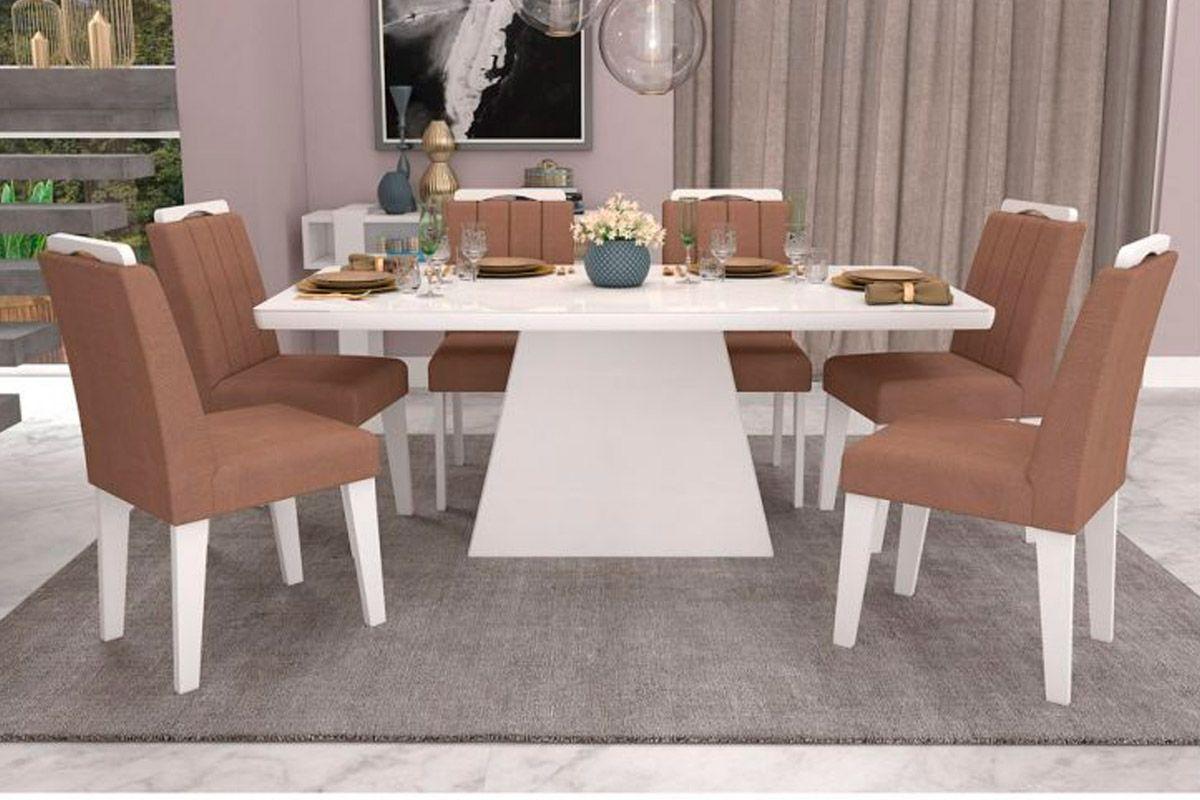 Sala de Jantar Helen 180x90 c/ 6 Cadeiras Elisa-Cor Branco/Branco - Assento/Encosto PlumaCor Branco/Branco - Assento/Encosto Pluma